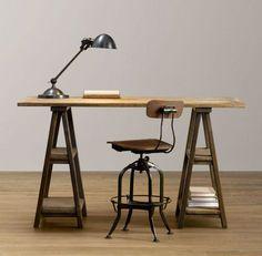 How to Make a DIY Vintage-Inspired Sawhorse Trestle Desk | Man Made DIY | Crafts for Men | Keywords: diy, industrial, diy, woodworking