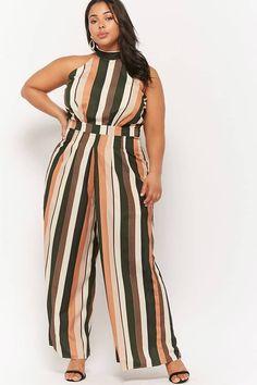 b8641492b32 Nice women Plus Size Striped High-Neck Jumpsuit  ad  womenfashion   plussizefashion  . Fashion ...