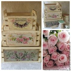 Cajas pintadas, me encantan!!!!!!!! Shabby Chic Storage, Shabby Chic Crafts, Shabby Chic Decor, Decoupage Box, Decoupage Vintage, Vintage Shabby Chic, Crate Crafts, Diy And Crafts, Pretty Box