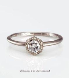 Catbird::shop by category::JEWELRY::Wedding & Engagement::Hexagon Ring, White Diamond