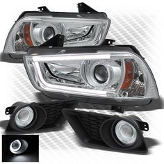 For 11-14 Charger Light-Tube-DRL Pro Headlights + Halo Projector Fog Lights