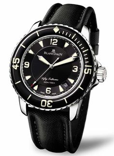 The beautiful automatic Blancpain Fifty Fathoms.  A true classic dive watch.  This new version retains the character and features of the original like the distinctive 15-30-45 domed sapphire glass bezel while still being modern.