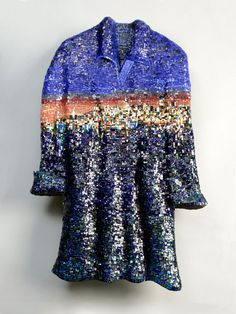Night Shirt, 2008; Italian and Mexican smalti, dichroic and stained glass, 24k gold leaf smalti and millefiori on hand-formed substrate; 32.5 x 21 x 2.5 inches