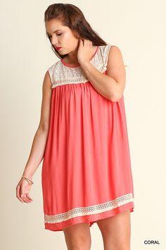 Lace & Fringe Sleeveless Dress in Plus Size