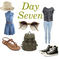 Day Seven by sara1096 on Polyvore featuring polyvore fashion style Topshop Converse Ray-Ban Express