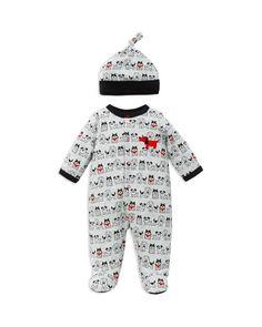 Offspring Infant Boys' Puppy Print Footie & Hat Set - Sizes Newborn-9 Months