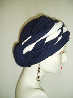 Navy Blue Chemo Hat  Alopecia Cancer  Headwrap by NinisNiche,