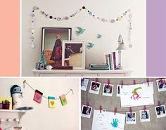 Simples de fazer, varais na parede dão aquele ar de faça você mesmo ao ambiente e ainda permitem que você pendure fotos, recados, desenhos e outras lembranças. A sugestão é da Luiza Boaventura, do blog Orange Design.