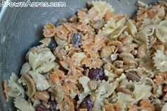 Kim's Poppy Pasta  Print  Ingredients  1 box Bowtie Pasta  1 cup Cashews  1 cup Red Grapes, cut in quarters  1 bottle Brianna's Poppy Seed Dressing  1 lb. Chicken, cooked (may be canned, rotisserie or leftovers)  Instructions  Cook pasta until al dente. Cut grapes and break chicken into bite size chunks. Rinse pasta under water until cooled. Combine pasta, chicken, grapes, and 1/2 of the poppy seed dressing. Mix well. Add more dressing as needed.