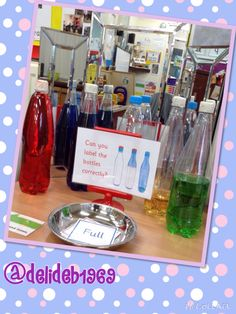 Label the differently filled bottles. Maths 3e, Maths Eyfs, Eyfs Classroom, Eyfs Activities, Nursery Activities, Primary Maths, Preschool Math, Kindergarten Math, Teaching Math