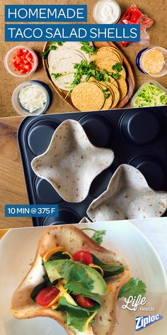 Perfect for taco night! Make taco salad shells in minutes. Just press flour tortillas into upside down muffin tins and bake for 10 min at 375. We love these with our sirloin steak taco recipe.