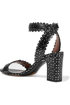 Tabitha Simmons - Leticia Studded Perforated Leather Sandals - Black