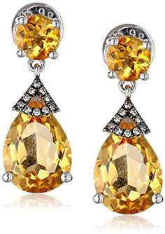Badgley Mischka Fine Jewelry Sterling Silver Citrine And Diamond Earrings