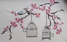 Cherry Blossom mini, Birds and cage embroidery files for embroidery hoop INSTANT… Embroidery Software, Paper Embroidery, Learn Embroidery, Hand Embroidery Designs, Embroidery Techniques, Embroidery Files, Embroidery Patterns, Machine Embroidery, Embroidery Hoops