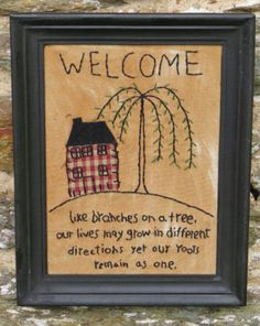 Primitive Framed Country Cross Stitch Farmhouse Willow Tree Tea Stained Muslin