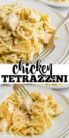 Creamy baked Chicken Tetrazzini recipe is the best weeknight dinner recipe your family will love! Easy and delicious. Easy Chicken Dinner Recipes, Healthy Pasta Recipes, Healthy Pastas, Easy Meals, Cooking Recipes, Sweets Recipes, Recipes Dinner, Vegan Recipes, The Best Chicken Tetrazzini Recipe