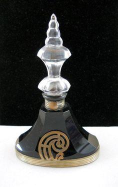 Art Deco Austrian Perfume Bottle with  Silver Trim