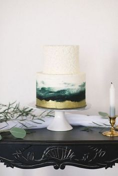 30 Sophisticated Emerald Green Wedding Ideas emerald greenery wedding cakes This image has get Buffet Dessert, Watercolor Wedding Cake, Emerald Green Weddings, Bolo Cake, Green Cake, Wedding Cake Inspiration, Wedding Ideas, Trendy Wedding, Sophisticated Wedding