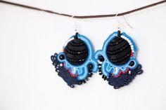 Blue black soutache earring Big beading by RasaVilJewelry on Etsy, €17.00