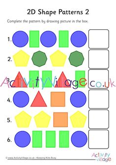Test children's ability to recognise patterns with these simple shape pattern worksheets, simply draw the next shape in the box. Shape Tracing Worksheets, Shapes Worksheet Kindergarten, Math Coloring Worksheets, Geometry Worksheets, Graphing Activities, Maths Resources, Math Patterns, Shape Patterns, Pattern Worksheet