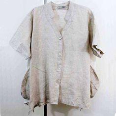 Artist Midali Toujours jacket lagenlook top artsy art to wear natural Linen OS #MidaliToujours #BasicJacket