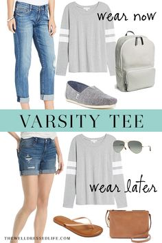 Weekend Inspiration: Varsity Tee Now and Later Girls Weekend Outfits, Casual Weekend Outfit, Casual Outfits, All Jeans, Tee Shirts, Tees, Well Dressed, Cloths, Color Pop