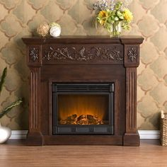 Southern Enterprises Calvert Carved Electric Fireplace Mantel W/ Infrared Heater - Rich Espresso - Classic Fireplace, Faux Fireplace, Fireplace Mantels, Fireplace Ideas, Victorian Fireplace, Fireplace Heater, Fireplace Shelves, Black Fireplace, Country Fireplace