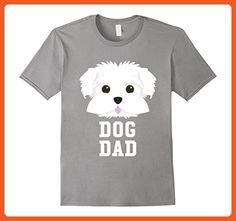 Mens Dog Dad Maltese - Fathers Day T-Shirt Medium Slate - Holiday and seasonal shirts (*Partner-Link)