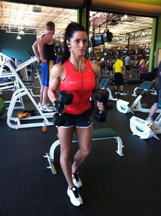 Shoulder workout.  And she is gorgeous!