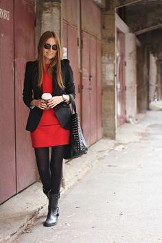 boots: zara,                                                                                                       tights: non branded,                                                                                                       dress: zara,                                                                                                       blazer: zara,                                                                                                       bag: bershka