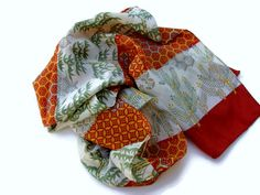 Vintage Asian Scarf Rich Orange Red Bamboo by EclecticVintager, $10.00