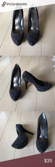 Carlos Santana heels Fabric heels. Purple and black cheetah print. Worn once. Carlos Santana Shoes Heels