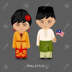 Illustration of Malaysians in national dress with a flag. Man and woman in traditional costume. vector art, clipart and stock vectors. Costumes Around The World, Flag Art, Cultural, Banner Printing, People Of The World, Flat Illustration, Cartoon Kids, Projects For Kids, Traditional Outfits