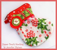 Jennifer Jangles Blog: Eight Free Christmas Patterns - stocking zipper pouch