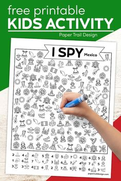 Print this free Mexico themed I spy page for kids for an indoor activity while stuck inside and to help them learn about Mexico.