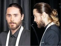 Jared Leto who accepted the award for Best Supporting Actor, nailed the slicked back messy bun, the seemingly go-to look for men with long hair.