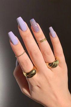 Purple Acrylic Nails, Acrylic Nails Coffin Short, Best Acrylic Nails, Purple Nails, Pastel Nails, Coffin Nails, Edgy Nails, Stylish Nails, Trendy Nails