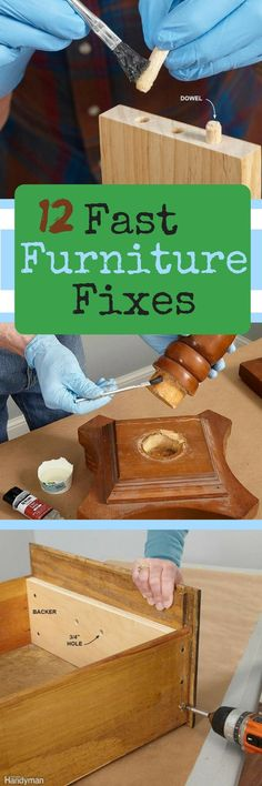 Repair nicks, scratches, dings and dents in your wood furniture. Plus, use easy repairs for everyday furniture to save a chair or table that's on its last legs.