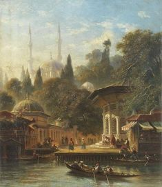 The Eyup Sultan (Abu Ayyub Al-Ansari) Mosque, Istanbul, Century Eyüp Camii… Arabian Art, Oh Beautiful, Boat Painting, Turkish Art, Ottoman Empire, Ancient Civilizations, Gravure, Art Plastique, Ancient Art