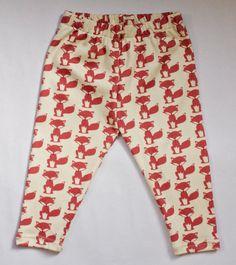 littlefour organic cotton fox print toddler leggings handmade in san francisco 2T 3T 4T 5T