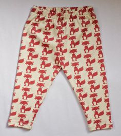 littlefour organic cotton knit fox print baby leggings on Etsy