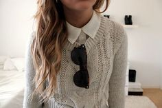 Love the sweater, the button up AND the wavy hair...LoveIT