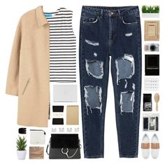 # by giulls1 on Polyvore featuring polyvore fashion style M.i.h Jeans Violeta by Mango Falke Valentino Chloé Louis Vuitton Maison Margiela Meraki Nine Space Royal & Langnickel Lux-Art Silks Christy Muji Undercover Forever 21 Bloomingville clothing stripe rippedjeans camelcoat