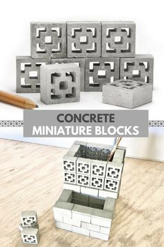 Concrete miniature mid century modern breeze block. So many awesome DIY project possibilities with these blocks. I love them! #ad #concrete #blocks #miniature #diy #crafts  #homedecor