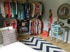 """Have a small spare room to transform into a huge walk-in. This makes so much sense for small closets. Turn the bedroom closet into the office by taking the doors off and setting a desk inside.. use what room would have been the """"Office"""" as a huge closet!"""