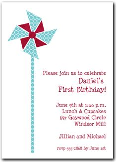 Teal Circles & Red Pinwheel Party Invitations, Boy Birthday Invitations @  AnnouncingIt.Com