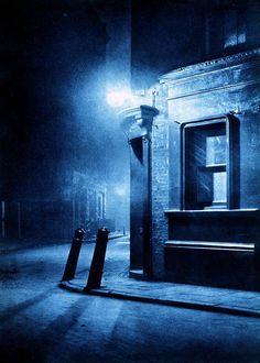 """""""London Night"""" by Harold Burdekin (1934) from Spitalfields Life - A City Street"""