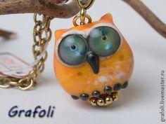Кулон сова оранжевая - оранжевый,кулон на цепочке,кулон лэмпворк,сова
