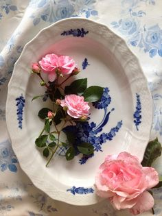 Royal Copenhagen Blue Flowers Curved with summer roses, by LilyOake