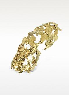 Goldtone Butterflies Articulated Bronze Ring - Bernard Delettrez